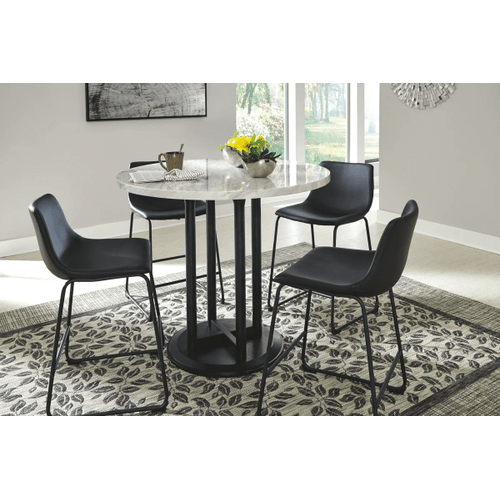 Centiar - Two-tone - 5 Pc. - Round Counter Table & 4 Black Barstools