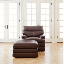 MILES LEATHER STATIONARY CHAIR in Walnut   (OTTOMAN SOLD SEPARATLY)    (237-692-LB178178,29077)