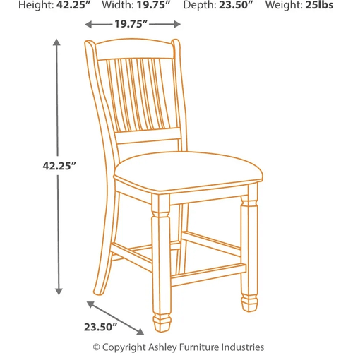 Bolanburg - Antique White - 5 Pc. - Rectangular Counter Table & 4 Upholstered Barstools
