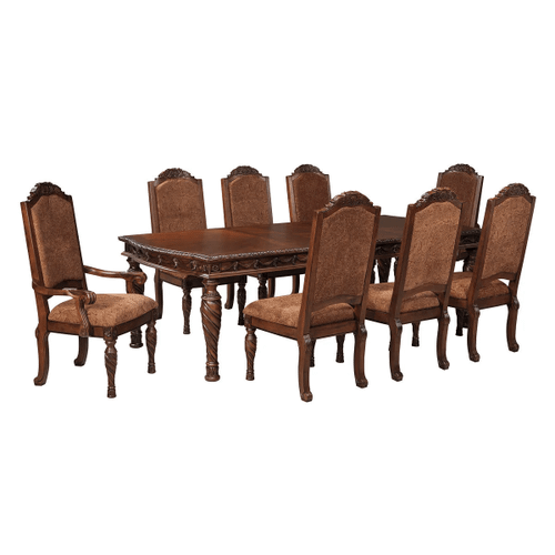 North Shore - Dark Brown - 9 Pc. - Rectangular Extension Table, 6 Upholstered Side Chairs & 2 Upholstered Arm Chairs