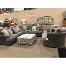 See Details - Large Sectional 2 tone $1995  Chair 1/2 $1049 Ottoman $349 Available now!