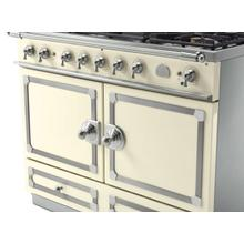 CornuFe 110 Dual Fuel Range - Suzanne Kazler Couleurs - Blanc with Stainless Steel and Satin Chrome Trim