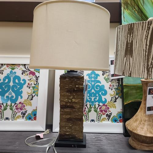 """30"""" Stone Block Table Lamp"""