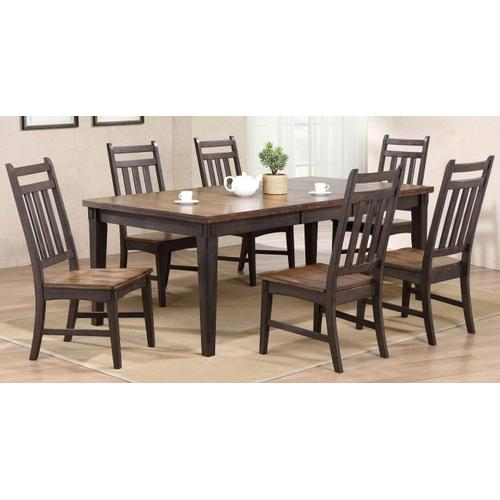 A 5 piece, table and 4 chairs, rustic looking two tone table set