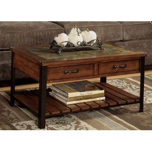 Null Furniture Inc - Cherry Slate Top Rectangular Cocktail Table w/Antique Bronze metal legs        (3013-01,52798)