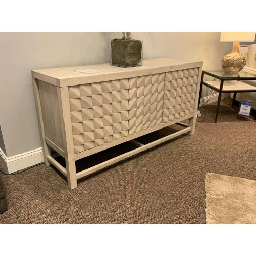 Three Door Media Console with Geometric Pattern