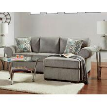 Sofa with Chaise & Floating Ottoman in Marcy Nickel