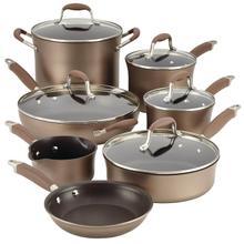 See Details - Anolon Advanced Hard-Anodized Nonstick Cookware Pots and Pans Set, 12 Piece, Bronze