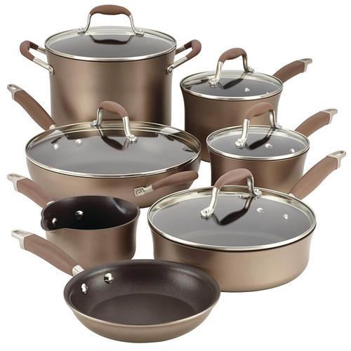 Anolon - Anolon Advanced Hard-Anodized Nonstick Cookware Pots and Pans Set, 12 Piece, Bronze