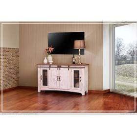 "60"" Pueblo TV Stand w/ 4 doors & Shelves White"