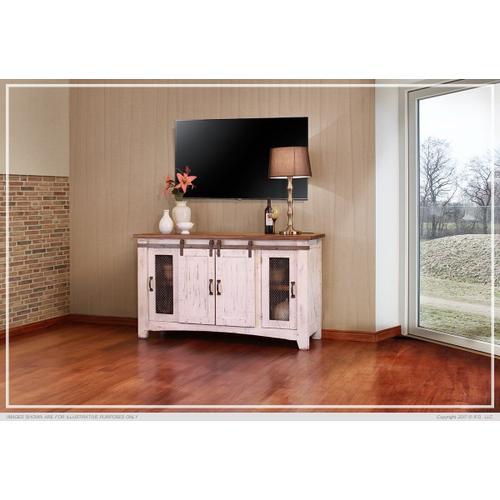 """60"""" Pueblo TV Stand w/ 4 doors & Shelves White"""