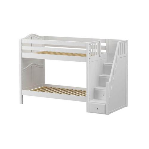 Medium High Bunk Bed with Staircase on End In White finish