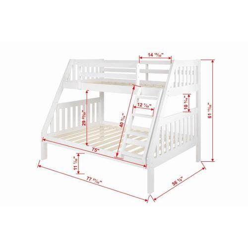 Donco Trading Company - Twin/Full Mission Bunkbed - White