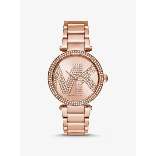 MICHAEL KORS Oversized Parker Pav Logo Rose Gold-Tone Watch