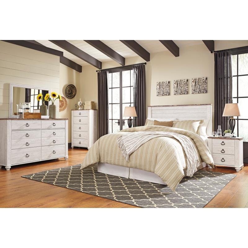 View Product - Willowton - Whitewash 4 Piece Bedroom Set