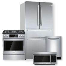 See Details - 800 Series French Door Bottom Mount Refrigerator & Gas Slide-in Range Package