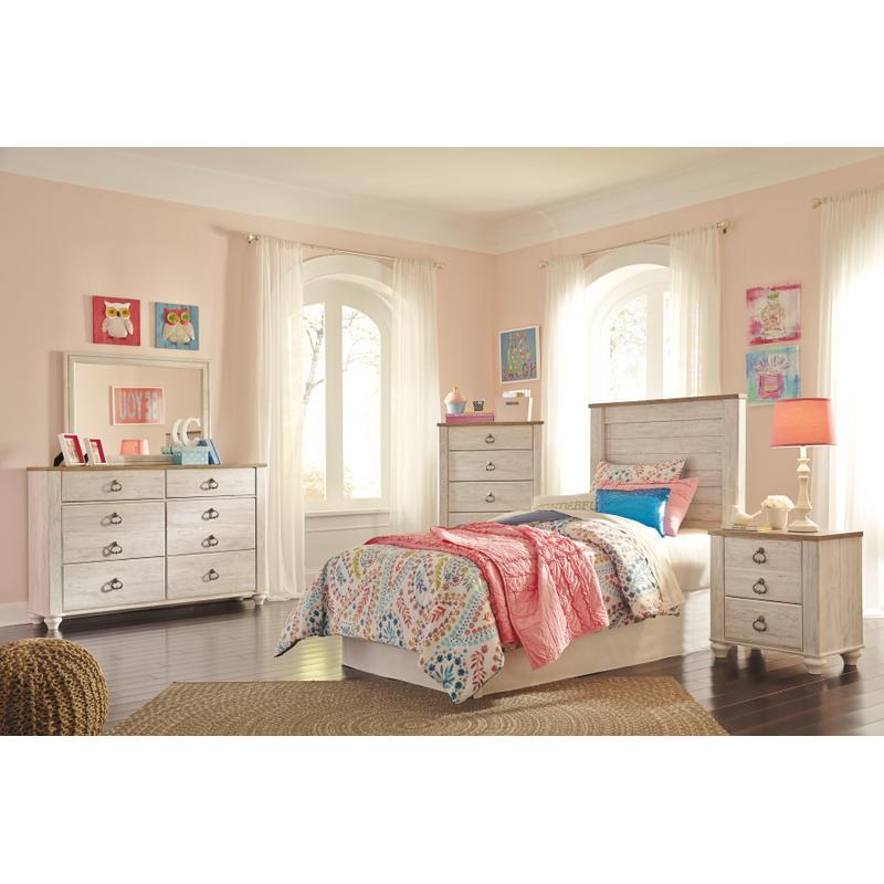View Product - Willowton - Whitewash 4 Piece Kids Bedroom Set
