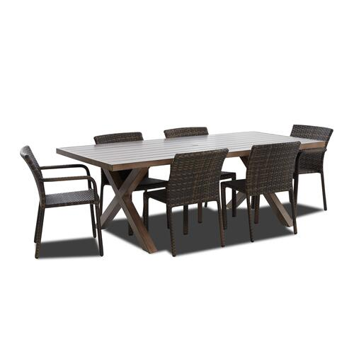 """86"""" Patio Table and 6 Side Chairs"""