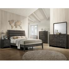 Evan- Gray Kg Bed, Dresser, Mirror, Chest and Nightstand