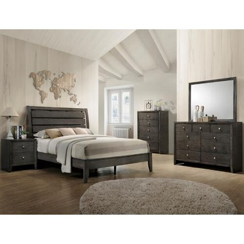 Evan- Gray Kg Bed, Dresser, Mirror, Chest and Nightstand