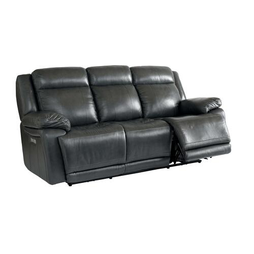 Evo Graphite Leather Power Reclining Sofa with Power Tilt Headrests