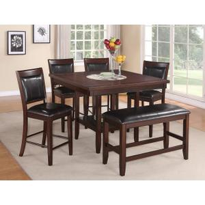 Fulton, 6 Pc Espresso Counter Height Dinette Set by Crown Mark, Model 2727