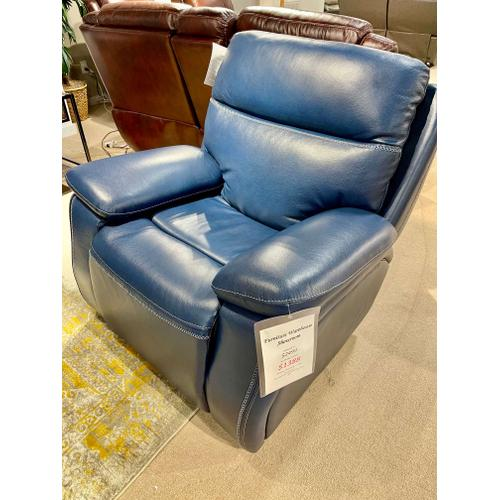 Micah Marco Navy Power Leather Recliner
