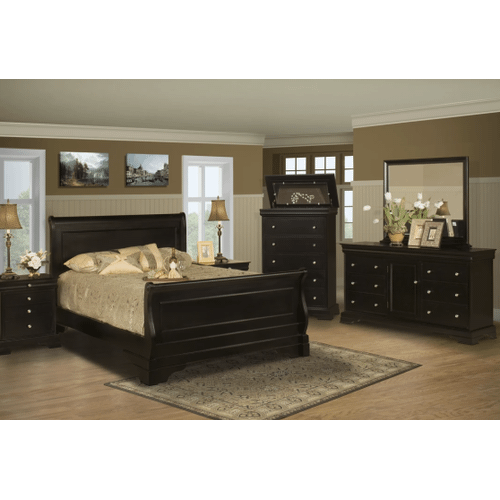 Packages - New Classic 4 Pc Queen Bedroom Set, Belle Rose BH013, Includes: Queen Bed, Dresser, Mirror and 1 Night Stand