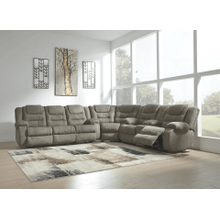 McCade - Cobblestone - Reclining Sofa, Wedge & Double Reclining Loveseat with Console Sectional