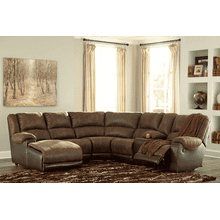 Nantahala - Coffee - 2 Recliner Sectional with Left Facing Chaise and Console