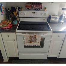 Amana Freestanding Glass Top Electric Range in White, A Cindy Dickinson Owned Appliance