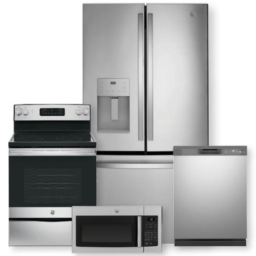 "GE 27.7 Cu. Ft. Fingerprint Resistant French-Door Refrigerator & 30"" Free-Standing Electric Range Package- Open Box"