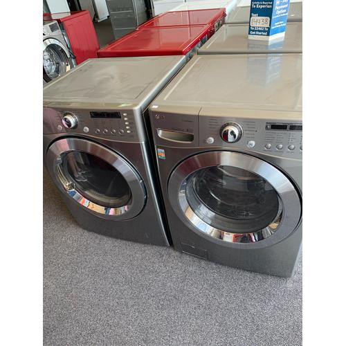 Product Image - Refurbished Grey Electric LG Washer Dryer Set. Please call store if you would like additional pictures. This set carries our 6 month warranty, MANUFACTURER WARRANTY AND REBATES ARE NOT VALID (Sold only as a set)