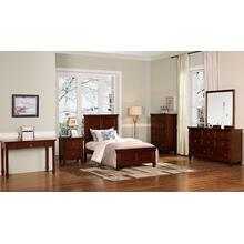 Taramack Cherry Twin Bedroom Set: Twin Bed, Nightstand, Dresser & Mirror