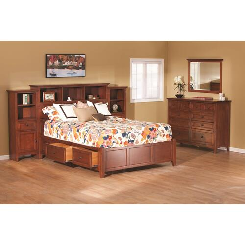 GAC McKenzie Queen Bookcase Storage Bed Cherry Finish