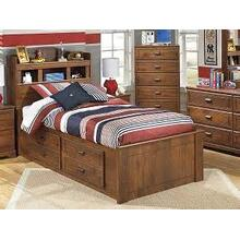 Barchan - Medium Brown Collection: 4 Piece Twin Captain's Bed