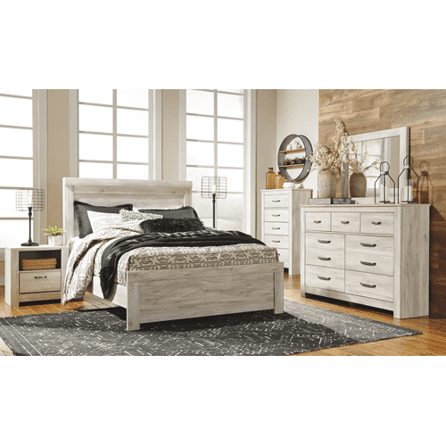 Bellaby- Whitewash- Dresser, Mirror, Chest, Nightstand & Queen Panel Bed Group