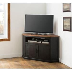 Rustic Corner TV Stand, Antique Black and Honey