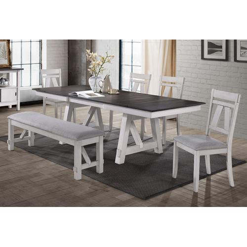 Product Image - NEW CLASSIC D1903-10T-D1903-10B-D1903-20-D1903-25 Maisie 6-Piece Dinette - Table, 4 Chairs & Bench