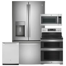 """See Details - GE 27.7 Cu. Ft. French-Door Refrigerator & 30"""" Electric Double Oven Convection Range 4 Pc Package- Open Box"""