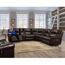 WAVERLY MAHOGANY LEATHER RECLINING SECTIONAL