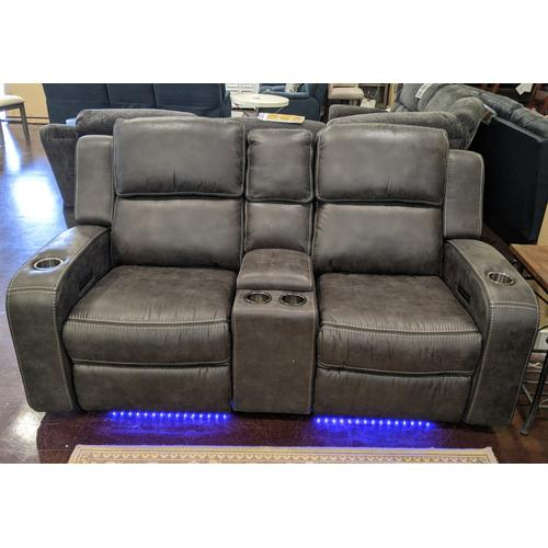 Cheers Brand - Charcoal Grey Power Head Rest Loveseat