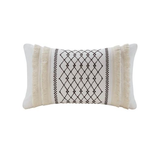 Bea Embroidered Cotton Oblong Pillow with Tassels