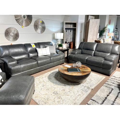 Simon Li Furniture - Stallion Dark Grey Leather Sofa & Loveseat