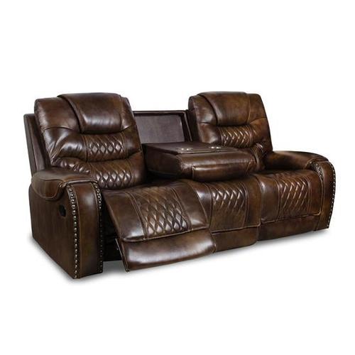 Vintage Carmel Leather Reclining Sofa
