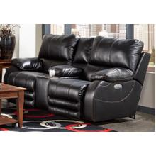 Sheridan Power Headrest/Power Lay Flat Reclining Console Loveseat - Black