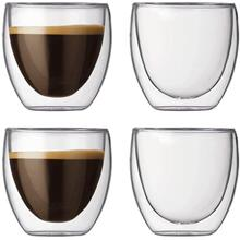 Bodum Pavina Double Wall Glass Espresso Cups Mugs Set of 4, Extra Small