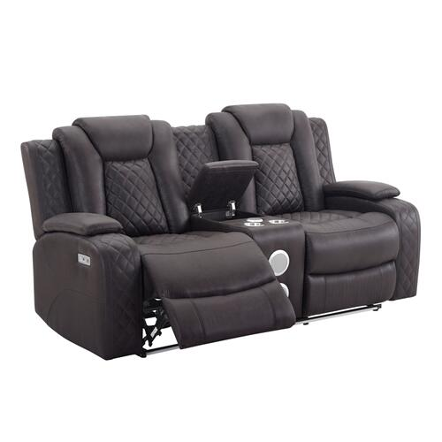 Dyer Dual Reclining Loveseat with Console in Dayton Chocolate