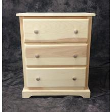 Maine Made Traditional 3 Drawer Mini Lingerie Chest 24W X 29H X 18D Pine Unfinished