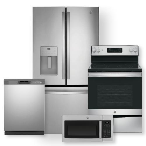 25.6 Cu. Ft. Fingerprint Resistant French-Door Refrigerator & Free-Standing Electric Range Package